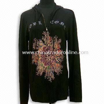 Mens Cashmere Zip Cardigan, Long-sleeve, with Discharge Print/Embroidered at Front