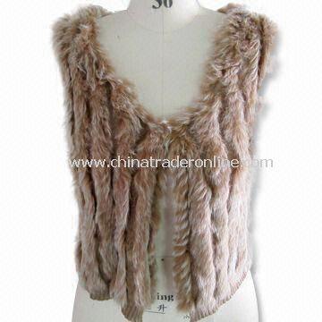 Rabbit Fur Womens Sleeveless Sweater, Made of 35% Viscose, 30% Wool, 30% Nylon and 5% Cashmere