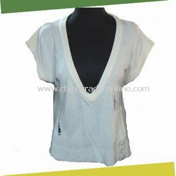 Short Sleeve Womens Sweater, Made of 100% Cashmere