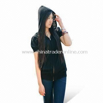 Short-sleeved Sweater in Zip Hoodies Style, Made of Silk and Cashmere