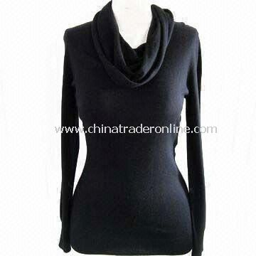 Waterfall Neck Womens Pullover with Long Sleeves, Made of 85% Silk and 15% Cashmere