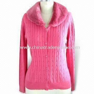 Womens Cardigan with Fur Collar, Made of 90% Cotton and 10% Cashmere