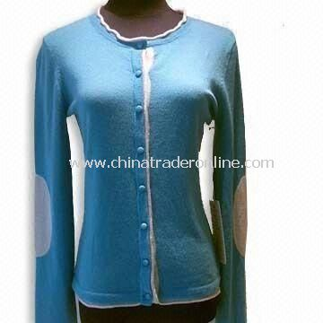 Womens Cashmere Cardigan, Long-sleeve with Patch, Round Neck, Jersey, with Rolled Edge
