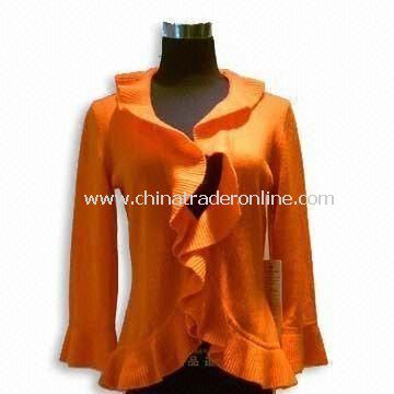 Womens Cashmere Sweater, Long-sleeve with Ruffle Details