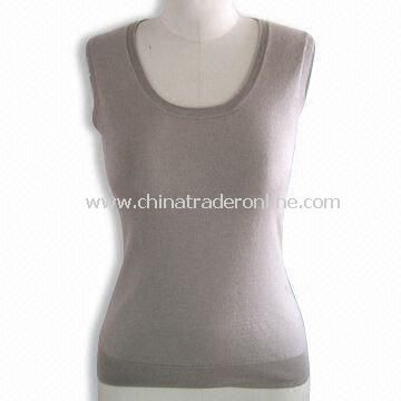 Womens Sleeveless Pullover, Made of 70% Silk,15% Cotton and 15% Cashmere
