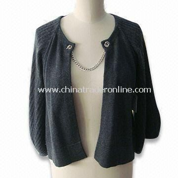 Womens Sweater, Made of 100% Cashmere, Buttons with Chains
