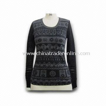 Womens Sweater, Made of 35% Silk, 32% Cotton, 15% Acrylic and 8% Cashmere