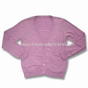 Womens Sweater, Made of 45% Nylon, 42% Viscose, 10% Wool and 3% Cashmere