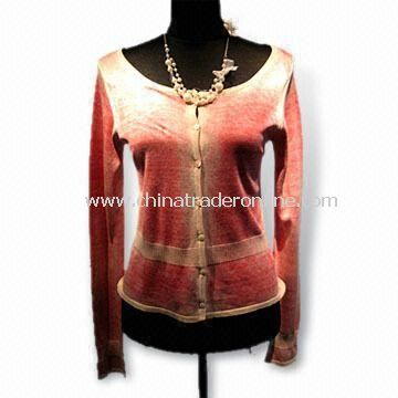 Womens Sweater with Full Sleeves and Button Closure , Made of 70% Silk, 15% Cotton, 15% Cashmere