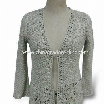 Crochet Womens Sweater, Made of 100% Cotton with Nonexplosive, Not Rotten and Colorfast