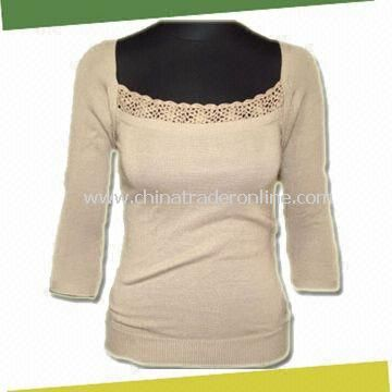 Knitted Sweater, Made of 55% Viscose and 45% Acrylic with Crochet for U Neck from China