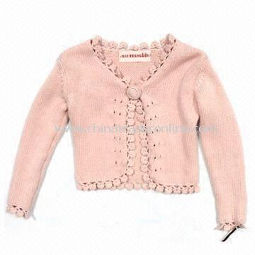Knitted Sweater for Girls with Crochet Finishing, Made of 100% Cotton