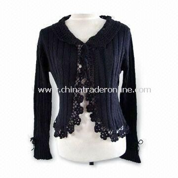 Knitted Sweater with Hand Crochet, Made of 100% Cotton, Suitable for Women from China