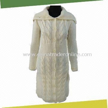 Ladies Winter Knitted Sweater Coat, Made of 50%wool, 50%acrylic