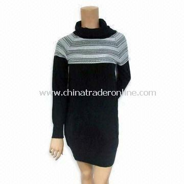 Ladies Sweater with High Neck, Jacquard, Made of 55% Wool and 45% Acrylic