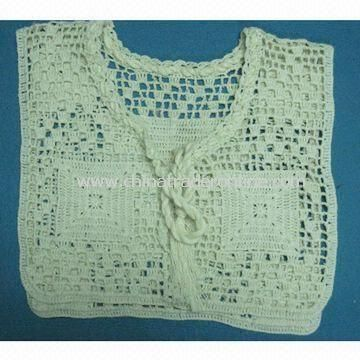Sweater with 0.3 to 0.5cm Tolerance, Made of Crochet Cotton