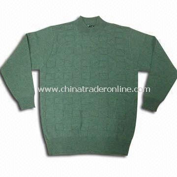 Sweater with Jacquard, Suitable for Men, Made of Wool and Silk