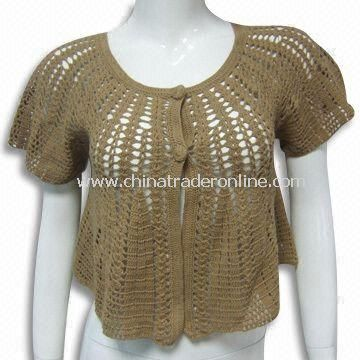Womens Crochet Sweater, Made of 100% Cotton