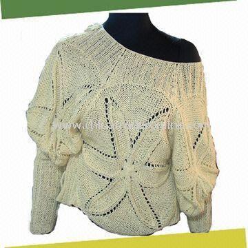 Womens Crochet Sweater, Made of 100%Cotton
