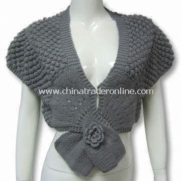 Womens Crochet Sweater in Pineapple Design, Made of 55% Cotton and 45% Acrylic