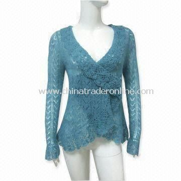 Womens Heavy Gauge Mohair Sweater with Long-sleeve and Hand Crochet Neck