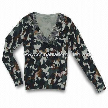 Womens Knitted Sweater, Made of Viscose, Nylon and Wool, Camouflage Printing and Beads Embroidery