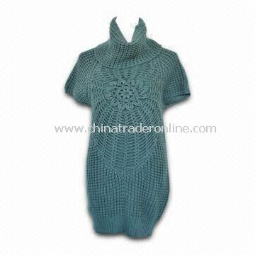 Womens Short Sleeve Pullover Sweater with Crochet Design