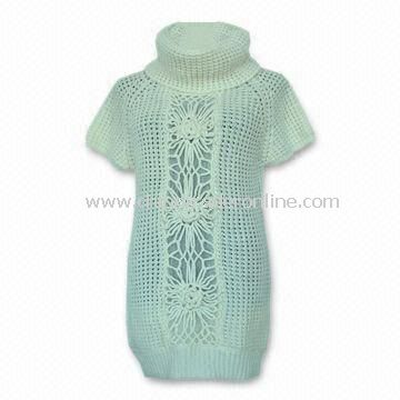 Womens Short Sleeve Pullover Sweater with Crochet Design at Front, Suitable for Winter Wear