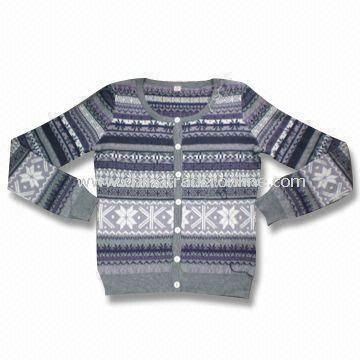 Womens Sweater, Made of 55% Acrylic, 30% Cotton and 15% Wool
