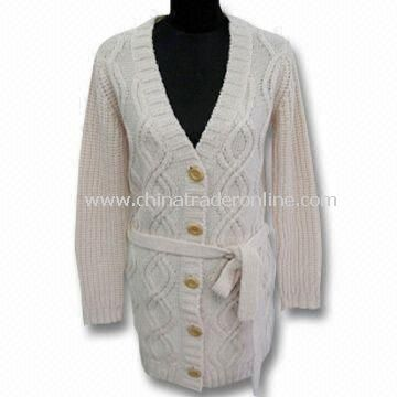 Womens Sweater with 3G Gauge, Made of 30% Wool and 70% Acrylic