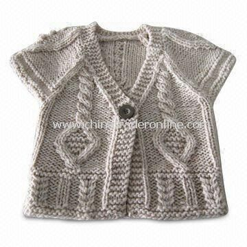 Childrens Cardigan, Made of 85% Acrylic and 15% Knitted Wool