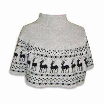 Ladies Jumper with Jacquard Design, Made of 70% Acrylic and 30% Wool