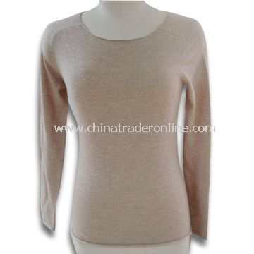 Ladies Sweater with Silk Hand-feeling, Soft and Gentle, Made of Lamb Wool and Nylon