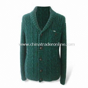 Mens Sweater, Long Sleeves, Made of 50% Acrylic and 50% Wool