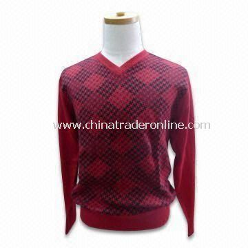 Mens V-neck Pullover, 12gg Gauge, Made of 49% Cotton, 21% Polyamide, 19% Viscose and 11% Lambs Wool