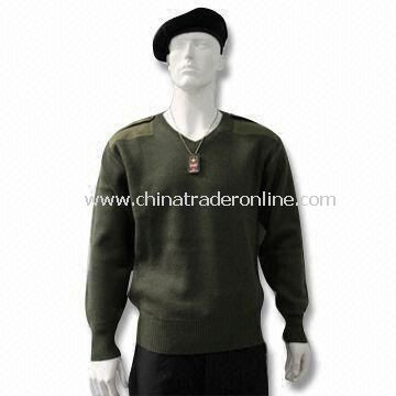 Military Pullover, Also Available in Blue and Gray, Made of Wool