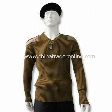 Military Pullover, Patches on Shoulders and Elbows, Made of Wool