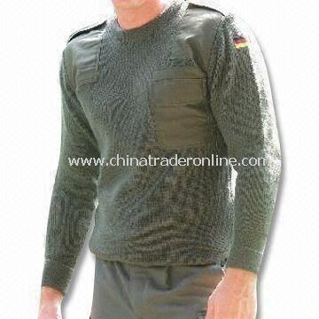Military Pullover in V-neck Design, Made of Wool, Patches on Shoulders and Elbows