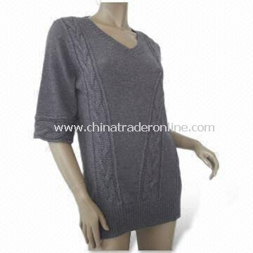 Sweater, Made of 45% Acrylic, 30% Alpaca and 25% Wool, Suitable for Women