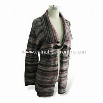 Sweater, Suitable for Women, Made of 58% Acrylic, 2% Spandex, 14% Wool and 36% Nylon