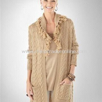Womens Cardigan Sweater, Made of 70% Acrylic and 30% Wool, Available in Gray and Nude Pink
