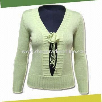 Womens Knitted Sweater, Made of 55% Linen and 45% Acrylic