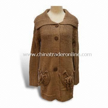 Womens Long-sleeved Cardigan with Two Pockets, Made of 70% Acrylic and 30% Wool