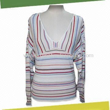Womens Long Sleeves Sweater, Made of 55% Silk and 45% Cotton