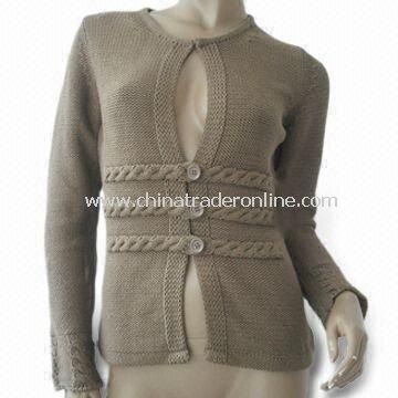 Womens Sweater, Made of 50% Acrylic and 50% Wool