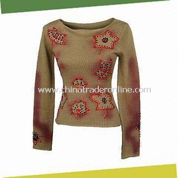 Womens Sweater with Hand-embroidery and Beading, Made of 70% Acrylic and 30% Wool