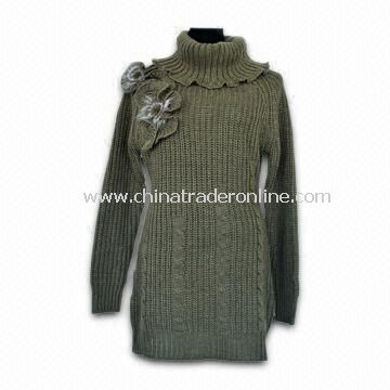 Womens Turtle Neck Pullover Sweater, Wool and Acrylic Composition