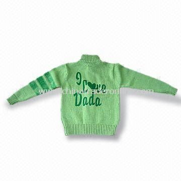 100% Cotton Mens Sweater, Long Sleeves, Available in Green