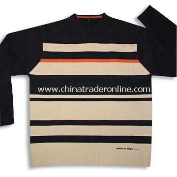 100% Cotton Sweater in Beige and Black Striped Pattern