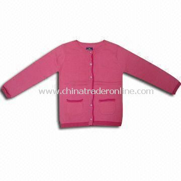 Childrens Cardigan Sweater in Rose, Front with Buttons, Made of 100% Cotton